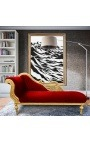 Large baroque chaise longue with a swan burgundy velvet fabric and gold wood