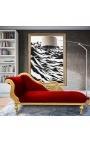 Большой кушетка с резным лебедя бордовый ткани и золотой древесины