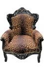 Grand fauteuil de style baroque tissu léopard et bois laqué noir