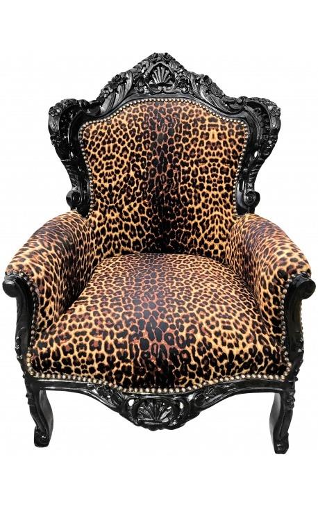 Большие кресла ткани барокко leopard и черного лакированного дерева