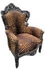 Big baroque style armchair leopard fabric and black lacquered wood
