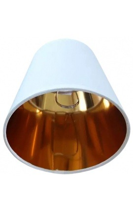Golden and white lampshade to clip-on bulbs perfect for wall lights