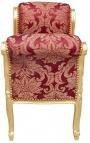 """Banquette baroque de style Louis XV tissu satiné rouge aux motifs """"Gobelins"""" et bois doré"""