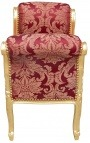 "Baroque Louis XV bench burgundy (red) with ""Gobelins"" patterns fabric and gold wood"