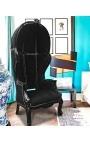 Grand fauteuil carrosse de style baroque tissu velours noir et bois noir