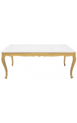 Dining wooden table baroque with gold leaf and white glossy top