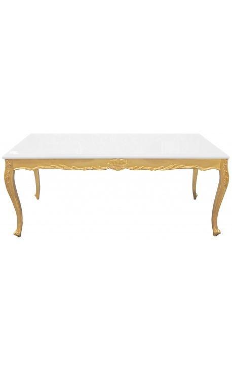 Table de repas baroque en bois doré à la feuille et plateau blanc
