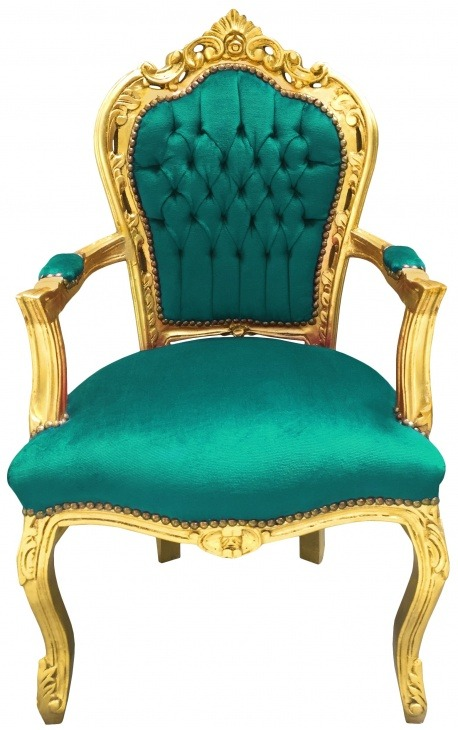 Baroque Rococo armchair style green velvet and gold wood