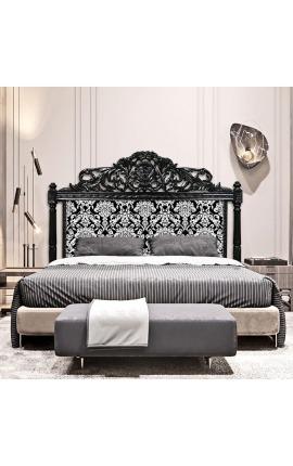 Tête de lit Baroque tissu motifs floraux blanc et bois noir