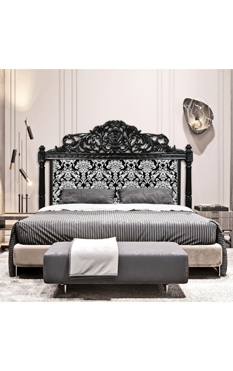 Baroque bed headboard with white floral pattern fabric and black wood