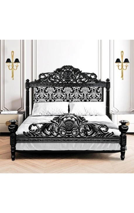 Baroque bed with white floral pattern fabric and glossy black wood
