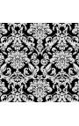 Lit Baroque tissu motifs floraux blanc et bois noir