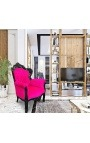 Big baroque style armchair fuchsia pink velvet and black lacquered wood