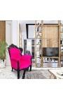 Grand fauteuil de style baroque velours fuchsia et bois laqué noir