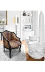 Bergere armchair Louis XV style with leopard fabric and black shine wood