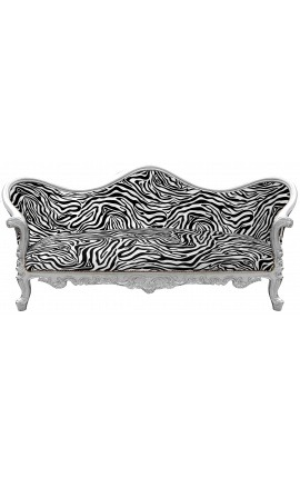 Baroque Sofa Napoléon III zebra printed fabric and silver wood
