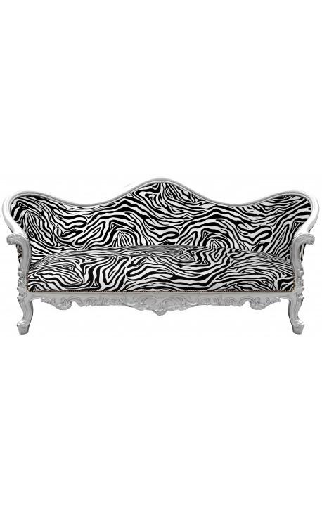 Baroque Sofa Napoléon III zebra printed fabric and silver wood