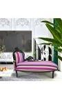 Grande méridienne baroque tissu rayé multicolore et bois laqué noir