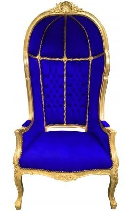 Grand fauteuil carrosse de style baroque tissu velours bleu et bois doré