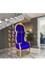 Grand porter's Baroque style chair blue velvet and gold wood