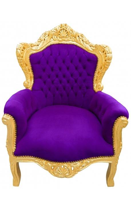 Grand fauteuil de style baroque velours mauve et bois doré