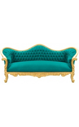 Baroque Sofa Napoléon III green velvet and gold wood