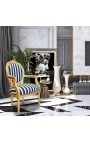 Baroque armchair Louis XVI black and white striped and gold wood