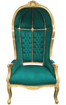 Grand porter's Baroque style chair blue velvet and gold wood