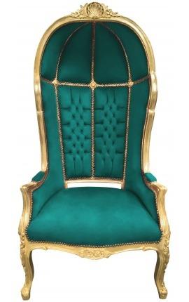 Grand fauteuil carrosse de style baroque tissu velours vert et bois doré