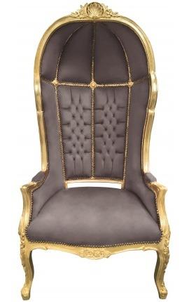 Grand fauteuil carrosse de style baroque tissu velours taupe et bois doré