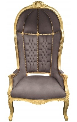 Grand porter's Baroque style chair taupe velvet and gold wood