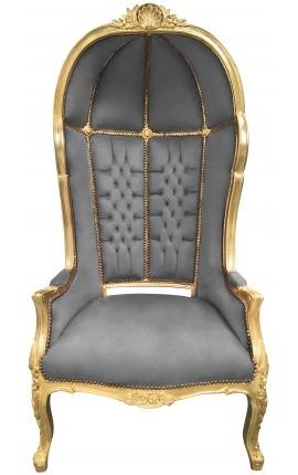 Grand fauteuil carrosse de style baroque tissu velours gris et bois doré