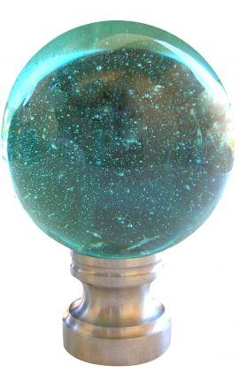 Boule d'escalier en verre bleu clair