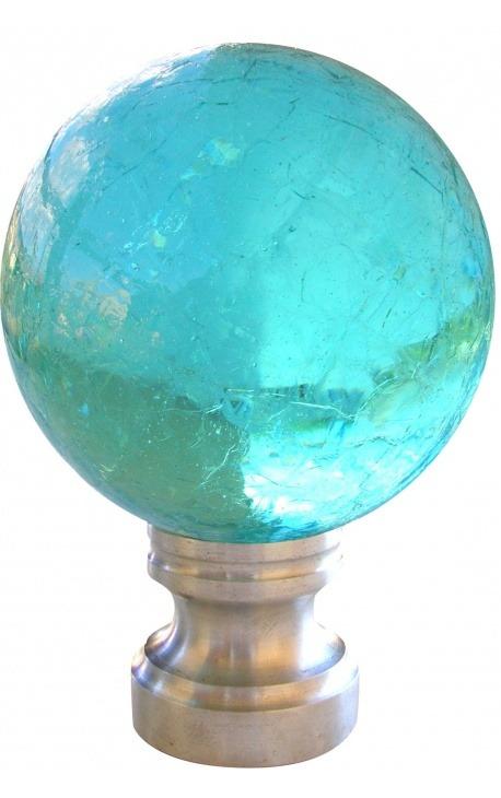 Boule d'escalier en verre bleu clair craquelé