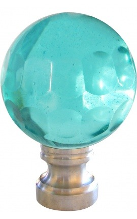 Banister stairwell light blue glass faceted