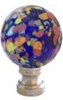 Boule d'escalier en verre soufflé bleu façon Murano