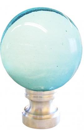 Boule d'escalier en verre soufflé blanche et bleu