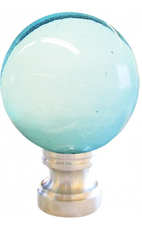 Stair ball for banister white and blue color blown glass