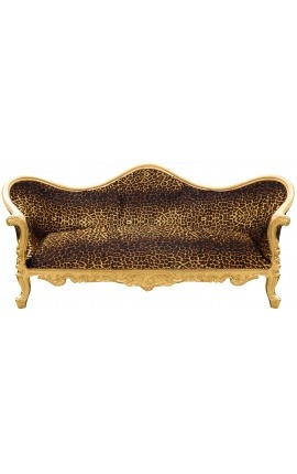 Baroque Sofa Napoléon III leopard printed fabric and gold wood