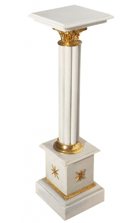 Corinthian column in white marble with gilded bronze in Empire style