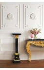 Corinthian column in black marble with gilded bronze in Empire style