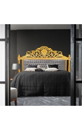 Baroque bed headboard grey velvet fabric and gold wood