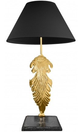 Table lamp in gilded bronze black marble base