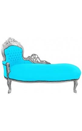 Grande méridienne baroque tissu velours bleu turquoise et bois argent