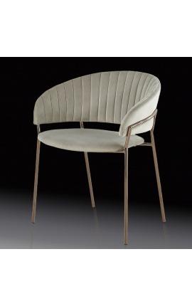 """Fauteuil """"Ananke"""" design Art Deco en velours gris et structure cuivre"""