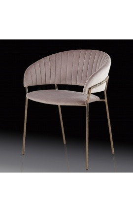 "Art Deco design ""Ananke"" armchair in pink velvet and copper color structure"