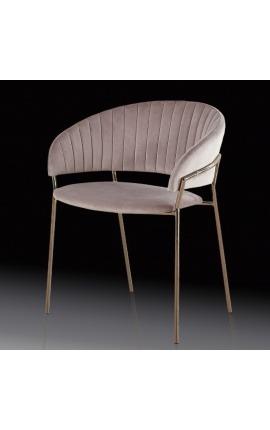 """Fauteuil """"Ananke"""" design Art Deco en velours rose et structure cuivre"""