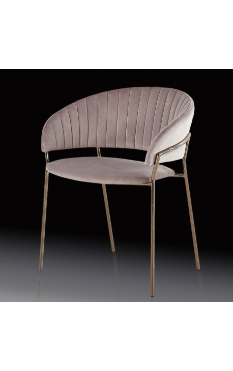 """Art Deco design """"Ananke"""" armchair in pink velvet and copper color structure"""