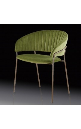 "Art Deco design ""Ananke"" armchair in green velvet and copper color structure"