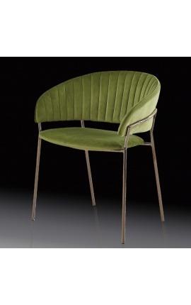 """Fauteuil """"Ananke"""" design Art Deco en velours vert et structure cuivre"""